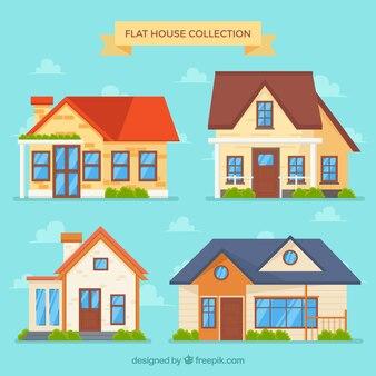 Kleurrijke huizen in plat design