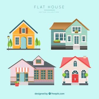 Kleurrijke huizencollectie in vlakke stijl