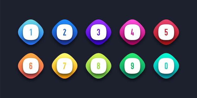 Kleurrijke icon set met nummer opsommingsteken