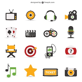 Kleurrijke iconische objecten