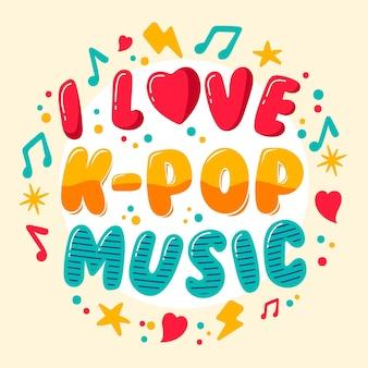 Kleurrijke ik hou van k-pop belettering