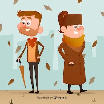Kleurrijke illustratie met herfst kleding
