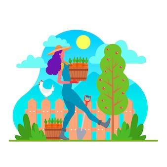 Kleurrijke illustratie met landbouwontwerp