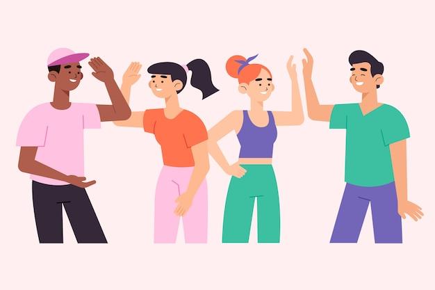 Kleurrijke illustratie met mensen die hoogte vijf geven