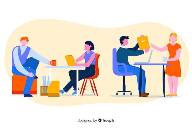 Kleurrijke illustratie van beambten die bij bureaus zitten