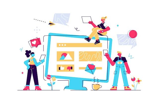Kleurrijke illustratie van communicatie via internet, sociale netwerken, chat, video, nieuws, berichten, website, vrienden zoeken, mobiele webafbeeldingen. vlakke stijl modern design illustratie