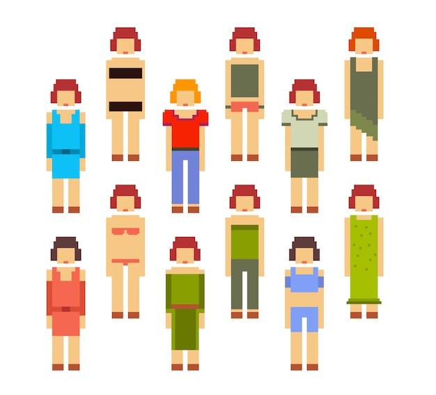 Kleurrijke illustratie van de collectie van vrouwen. jonge meisjes in verschillende kleren op witte achtergrond. retro pixel art set van vrouwen voor sport, zaken, casual, vakantie