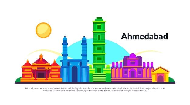 Kleurrijke illustratie van de skyline van ahmedabad