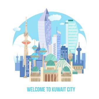 Kleurrijke illustratie van de skyline van koeweit