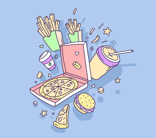 Kleurrijke illustratie van fast-food pizza met frietjes en cola