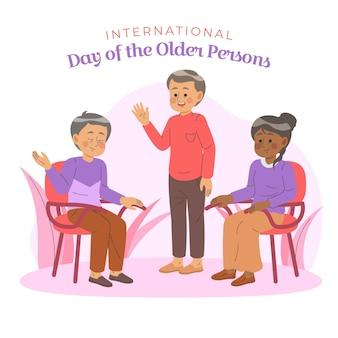 Kleurrijke illustratie van internationale dag van ouderen