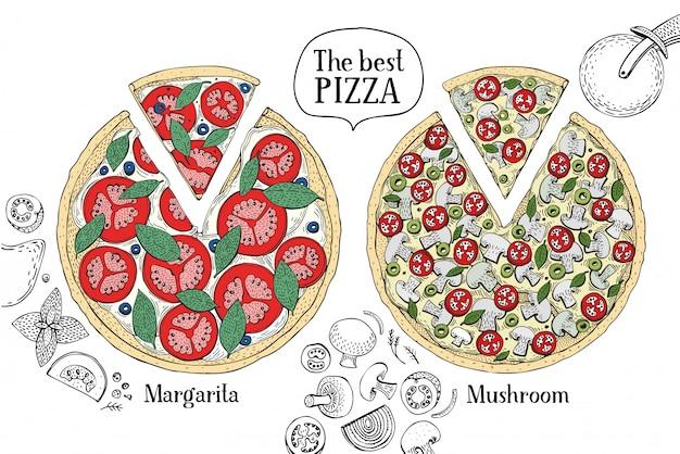 Kleurrijke illustratie van italiaanse pizza.