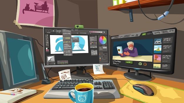 Kleurrijke illustratie van professionele digitale kunstenaarswerkruimte met veel hulpmiddelenbeeldverhaalstijl