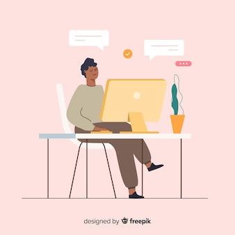 Kleurrijke illustratie van programmeur die zijn werk doet