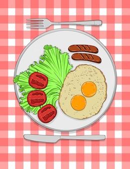 Kleurrijke illustratie van typisch engels ontbijt