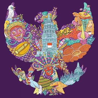 Kleurrijke illustratiekrabbel van indonesië met de vorm van garudapancasila