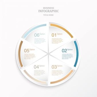 Kleurrijke infographic cirkel 6 optie of stappen en pictogrammen.