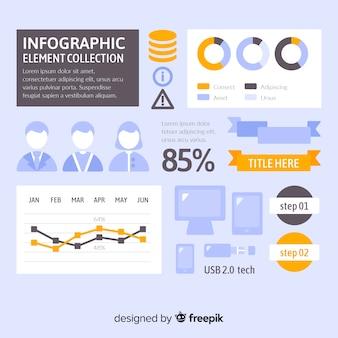 Kleurrijke infographic elementeninzameling met vlak ontwerp