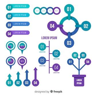 Kleurrijke infographic elementeninzameling