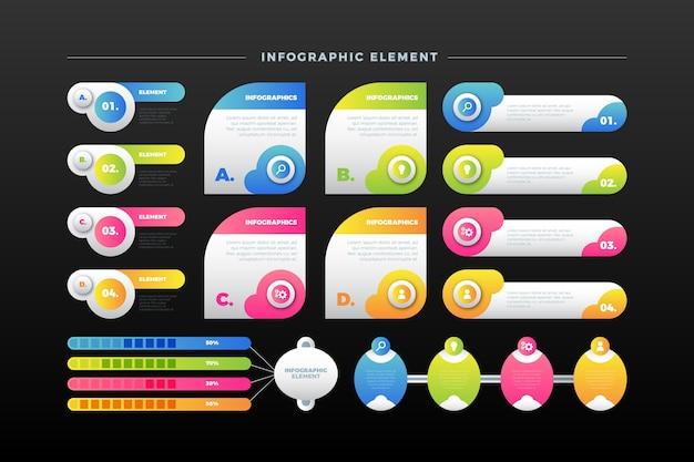 Kleurrijke infographic elementenverzameling in verschillende stijlen