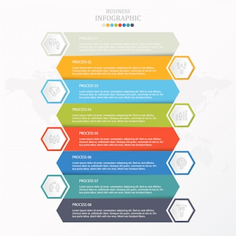 Kleurrijke infographic en werkmenspictogrammen voor bedrijfsconcept.