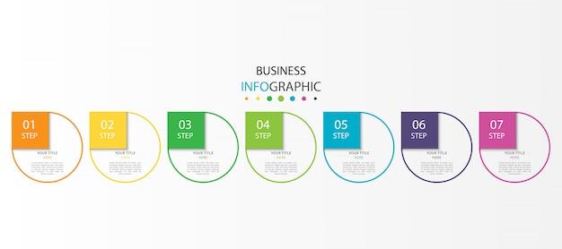 Kleurrijke infographic met 7 stappen of opties