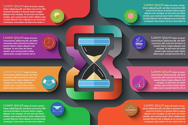 Kleurrijke infographic op donkere achtergrond.