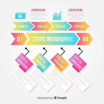 Kleurrijke infographic stappen ontwerpsjabloon