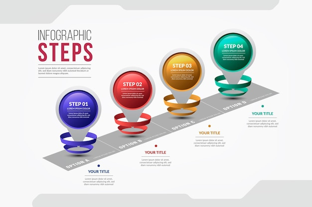 Kleurrijke infographic stappen