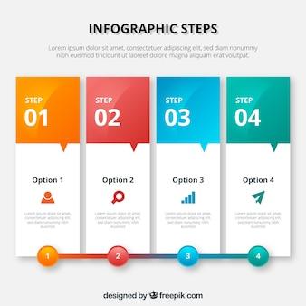 Kleurrijke infographic template in banner stijl