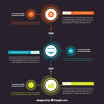 Kleurrijke infographic timeline met drie stappen