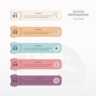 Kleurrijke infographic vijf proces of stap