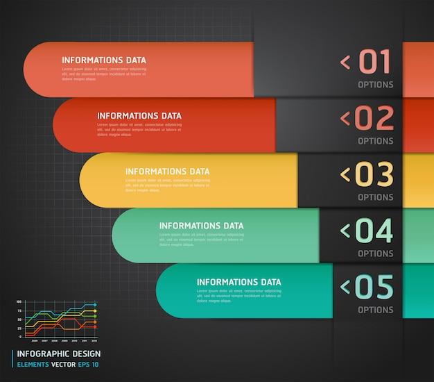 Kleurrijke infographics nummer opties banner & kaart.