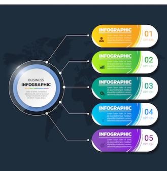 Kleurrijke infographics-sjabloon 5 options.with de stijl van de borstelslag.