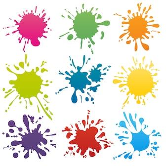 Kleurrijke inktvlekken set. splash splatter abstracte vorm. vector illustratie