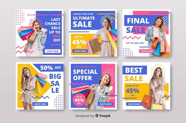 Kleurrijke instagram verkoop post collectie voor vrouwen mode