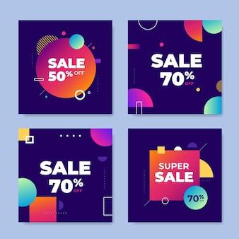 Kleurrijke instagram verkoop post-collectie