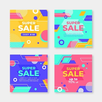 Kleurrijke instagram verkoop postcollectie