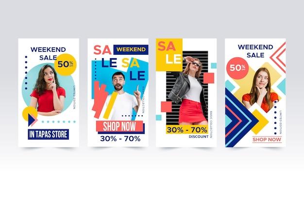 Kleurrijke instagram verkoop verhalen collectie