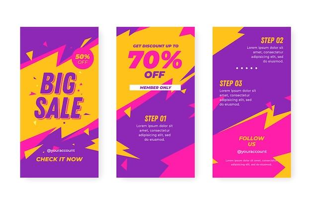 Kleurrijke instagram verkoopverhalen en flitsen
