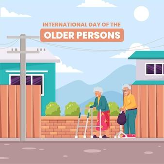 Kleurrijke internationale dag van de oudere personenillustratie