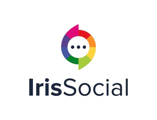 Kleurrijke iris en praatjebel sociaal eenvoudig strak creatief geometrisch modern logo-ontwerp