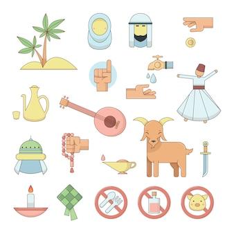 Kleurrijke islamitische religie cultuur pictogrammen.
