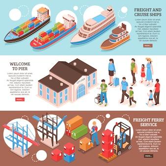 Kleurrijke isometrische set van drie horizontale banners met vracht- en cruiseschepen en passagiers