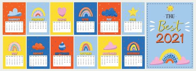 Kleurrijke jaarlijkse planner