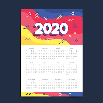 Kleurrijke jaarplanningskalender