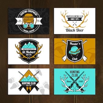 Kleurrijke jachtkaarten set
