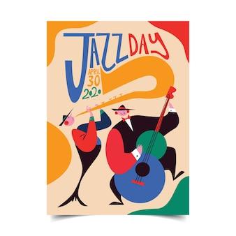 Kleurrijke jazzdag poster