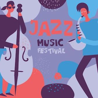 Kleurrijke jazzmuziekfestivalposter in plat ontwerp met muzikanten die muziekinstrumenten bespelen