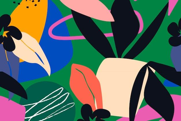 Kleurrijke jungle achtergrond, naadloze patroon vector